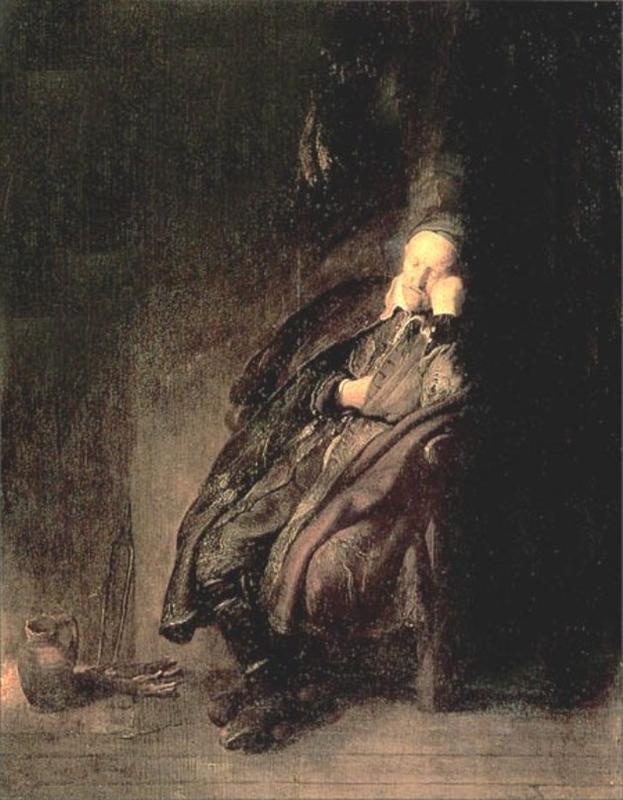 ηλικιωμένος κοιμάται -Ρέμπραντ 1629