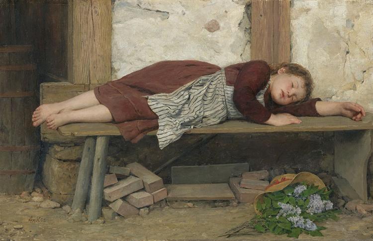 κορίτσι που κοιμάτε σε ένα ξύλινο παγκάκι Albert Anker