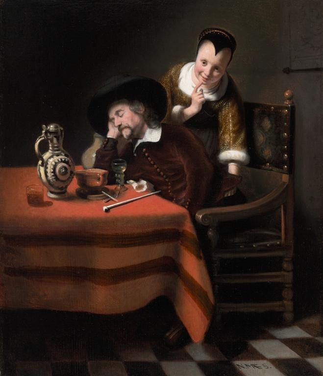 άντρας που κοιμάται και το πορτοφόλι του κάνει φτερά -Nicolaes Maes 1655