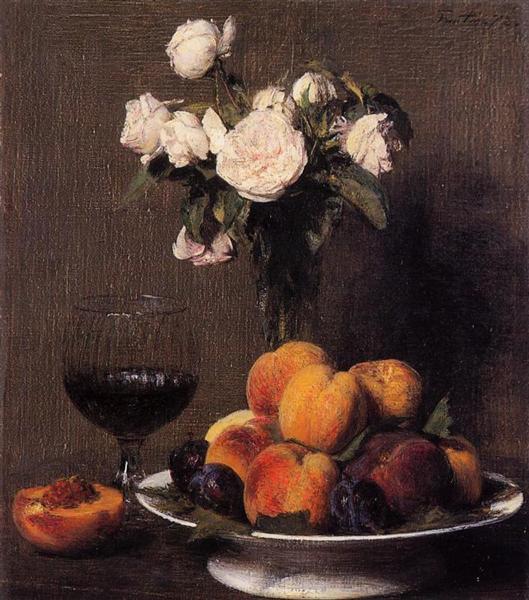 Νεκρή φύση με τριαντάφυλλα, φρούτα και ένα ποτήρι κρασί -Henri Fantin-Latour 1872