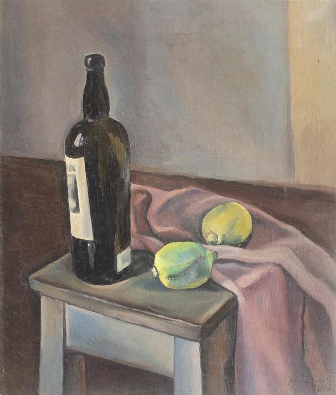 Νεκρή φύση με μπουκάλι κρασί και Λεμόνια - Henri Catargi 1926