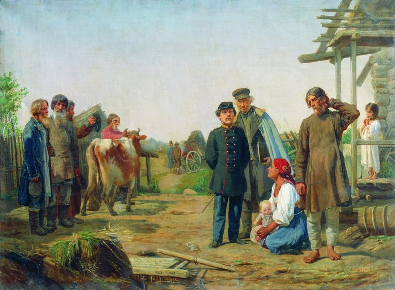 η είσπραξη των φόρων -Alexei Korzukhin - 1868