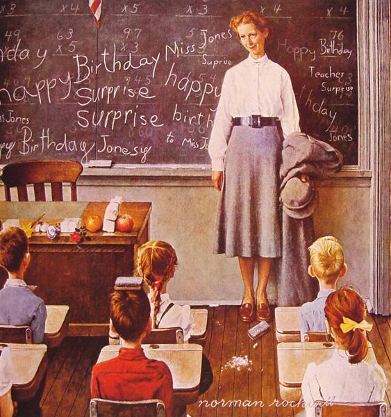 τα γενέθλια της δασκάλας - Norman Rockwell 1956