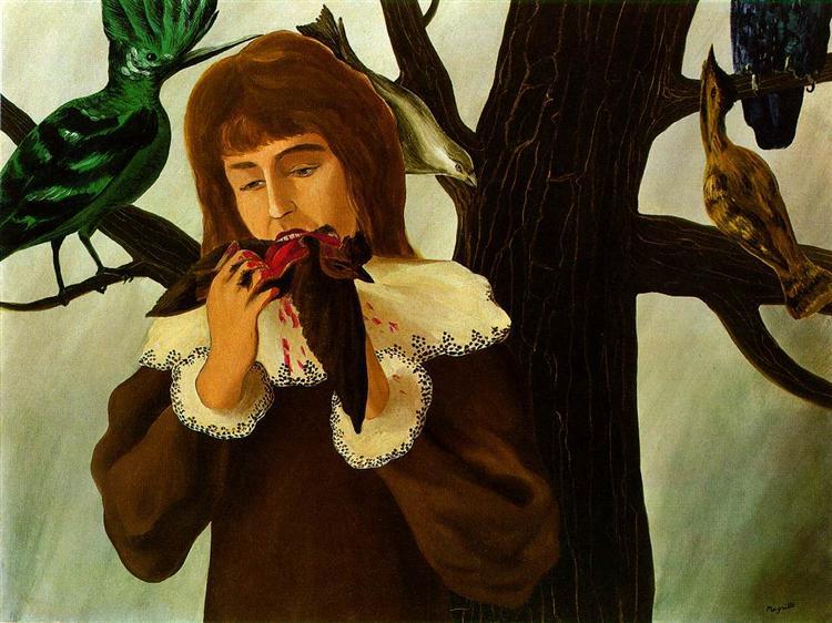 Νεαρό κορίτσι τρώει ένα πουλί (Η ευχαρίστηση) -Rene Magritte 1927
