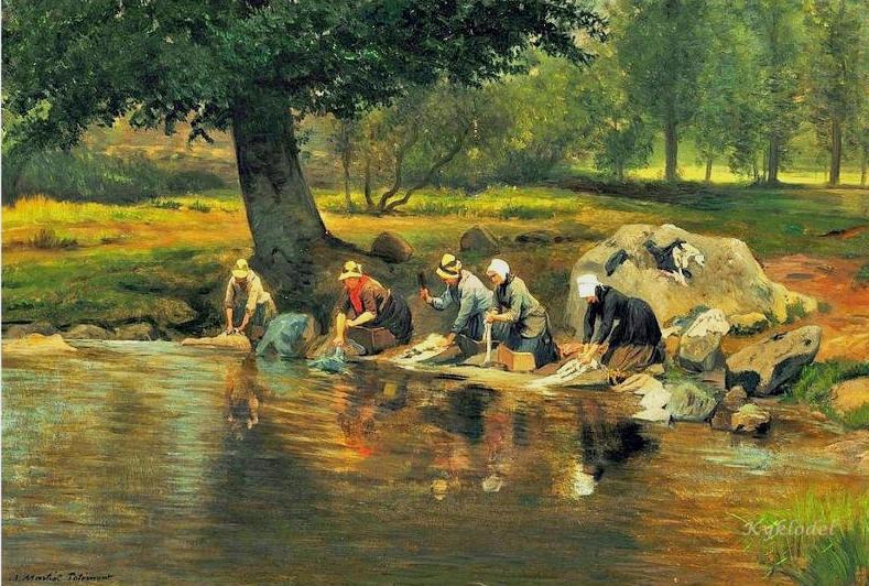 γυναίκες πλαίνουν ρούχα στο ποτάμι - Adolphe Theodore Jules Potemont
