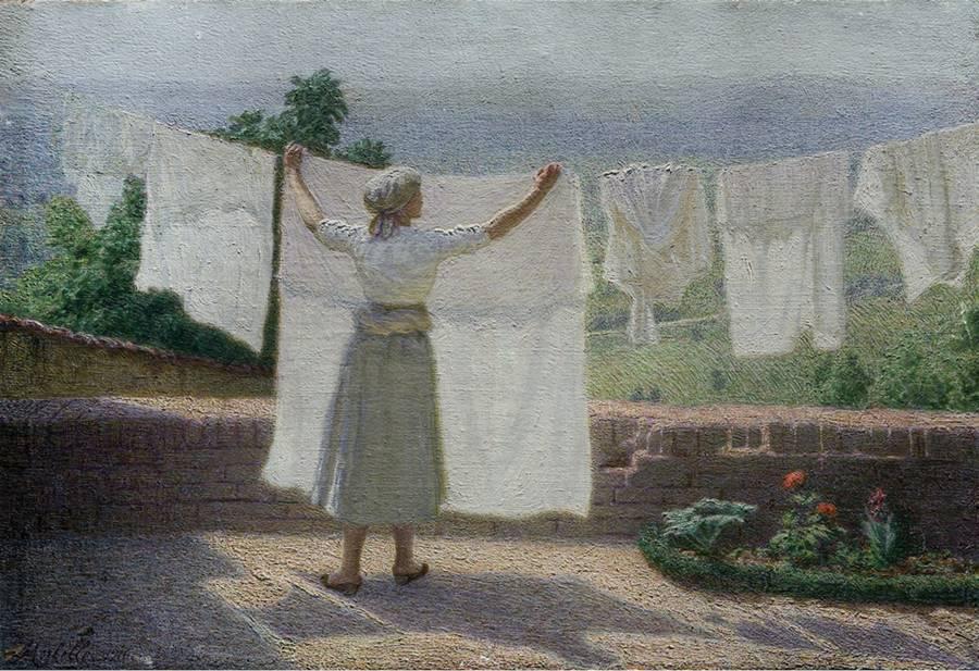 Τέντωμα των ρούχων στον ήλιο -Angelo Morbelli - 1916