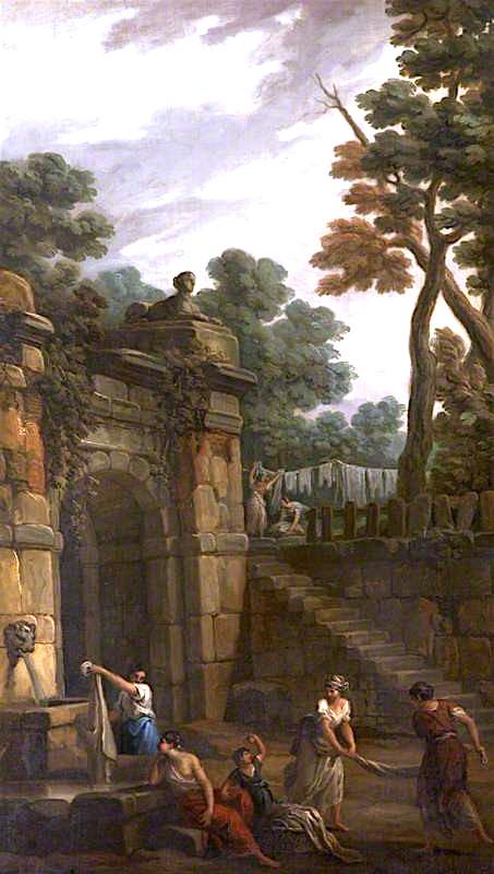 γυναίκες που πλένουν ρούχα στην κρήνη- Antonio Zucchi 1781