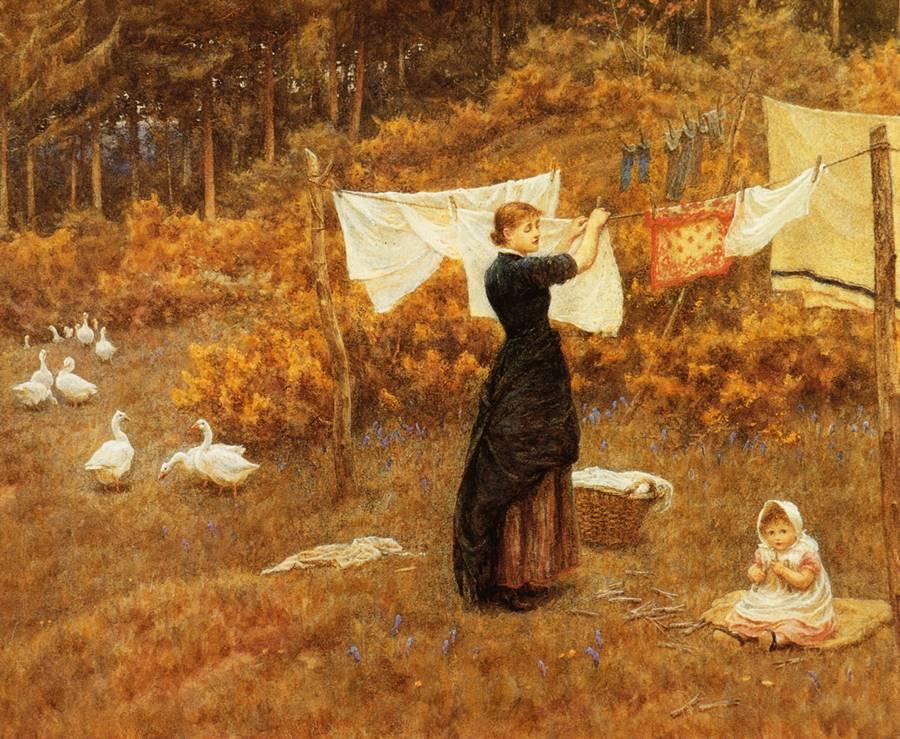 Η γραμμή των ρούχων -Helen Allingham
