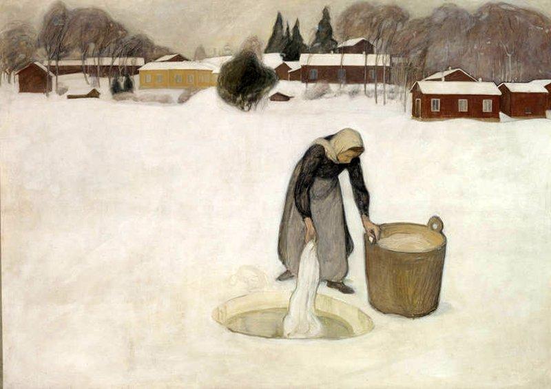Πλύσιμο ρούχων μέσα στον πάγο Pekka Halonen 1900