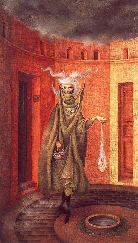 """""""Γυναίκα που φεύγει από τον Ψυχαναλυτή"""" Πίνακας της σουρεαλίστριας Remedios Varo, ζωγραφισμένος το 1961"""