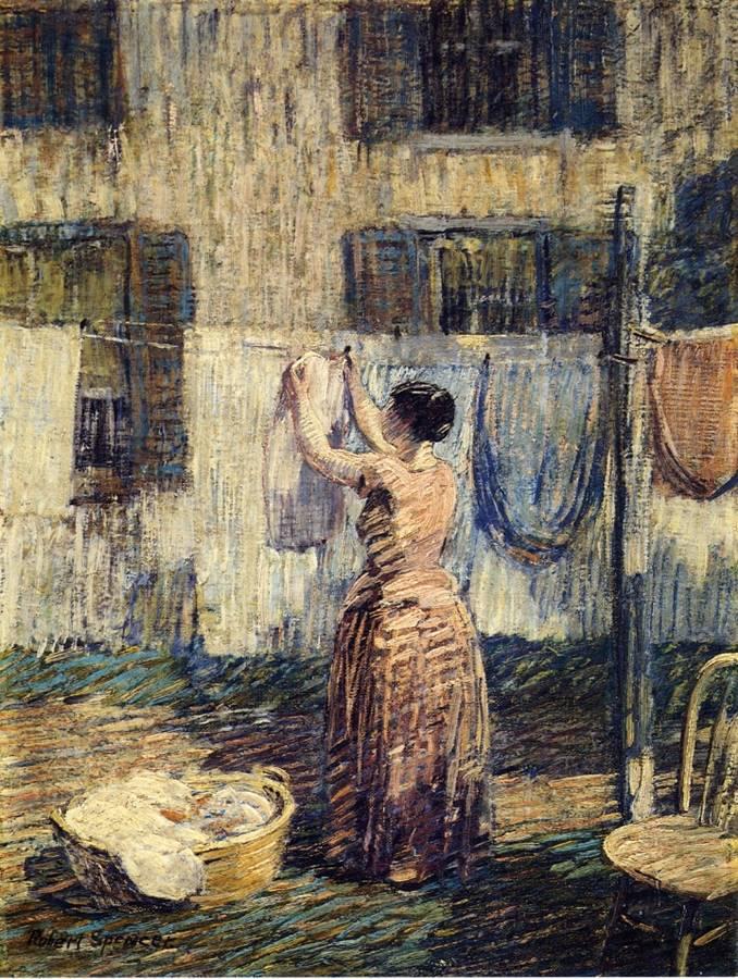 Γυναίκα απλώνει ρούχα έξω -Robert Spencer - 1917