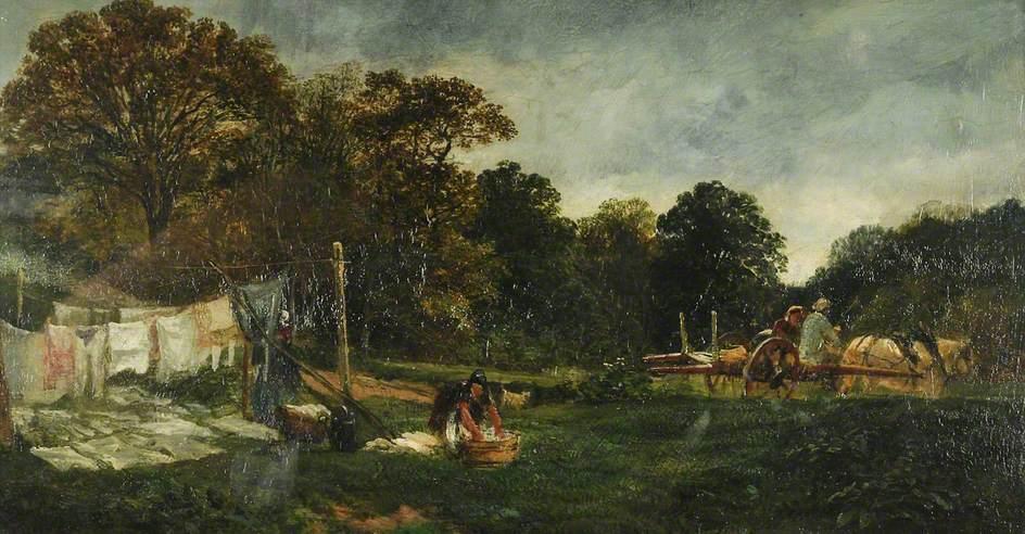 Μια σκηνή στο δάσος Cadzow : Απλωμένα Ρούχα - Samuel Bough - 1855