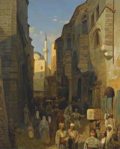 σ ένα πολυσύχναστο δρόμο στην Ταγγέρη -Themistocles von Eckenbrecher 1876