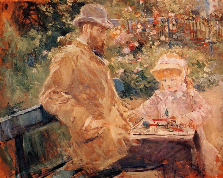 """""""Ο Eugene Μανέ με την κόρη του στο Bougival"""" - πίνακας του 1881"""
