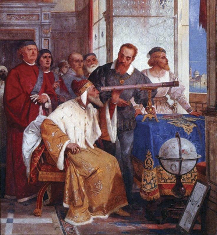 Galileo Galilei δείχνει στον Δόγη της Βενετίας πώς να χρησιμοποιήσει το τηλεσκόπιο - Giuseppe Bertini 1858