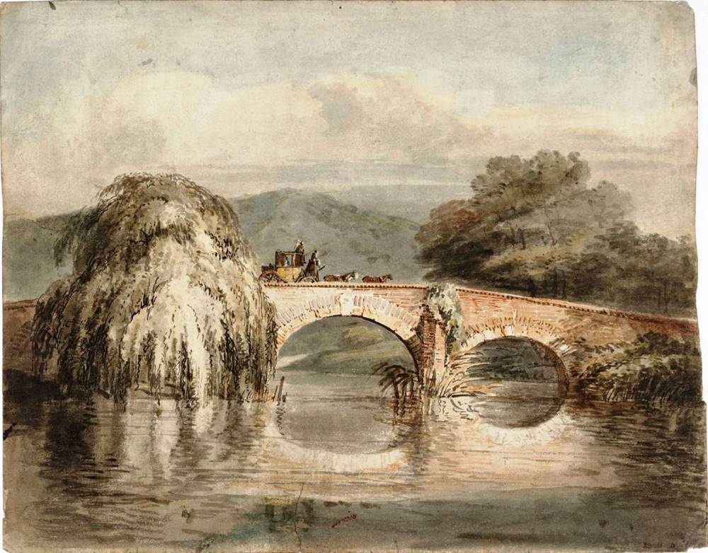 Μια άμαξα διασχίζει ένα διπλό τοξωτό γεφύρι, με μια ιτιά - Joseph Mallord William Turner - 1796