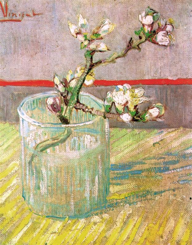 ανθισμένα κλαδιά αμυγδαλιάς σε Ποτήρι - Vincent van Gogh 1888