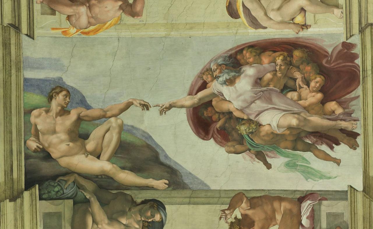 """""""Η Δημιουργία του Αδάμ"""", σκηνή από τον κύκλο της Δημιουργίας του Κόσμου, στην οροφή της Καπέλα Σιξτίνα"""