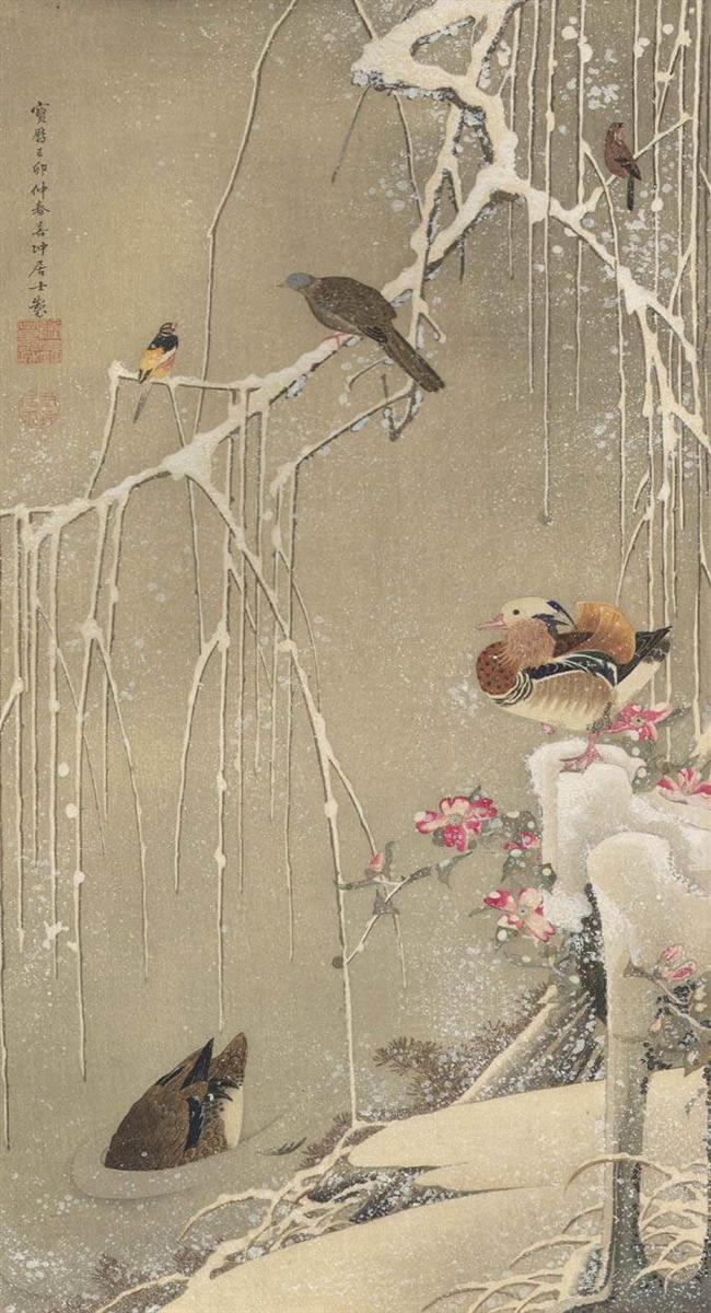 Ιτιά και πάπιες Μανταρίνι (είδος) στο χιόνι - Ito Jakuchu