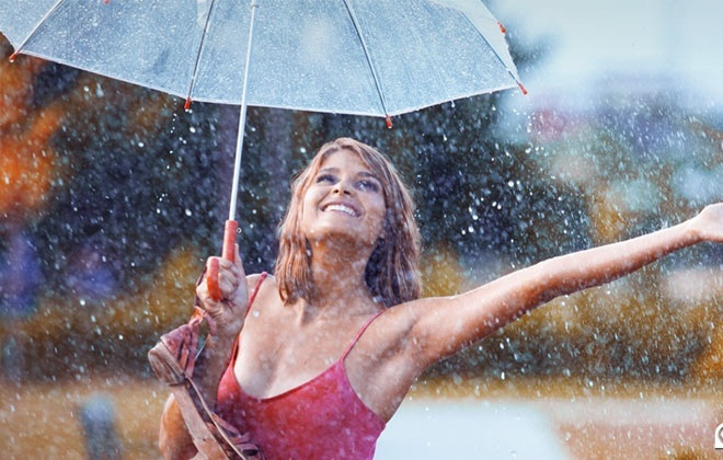 woman-rain-happy