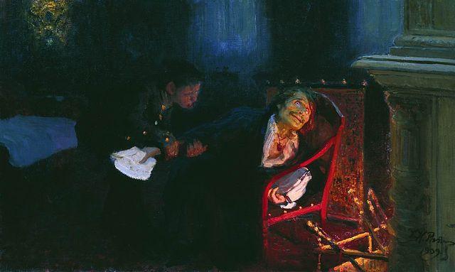 """ο Γκόγκολ καίει το χειρόγραφο του δεύτερου μέρους από τις """"Νεκρές ψυχές"""" - Ίλια Ρέπιν"""