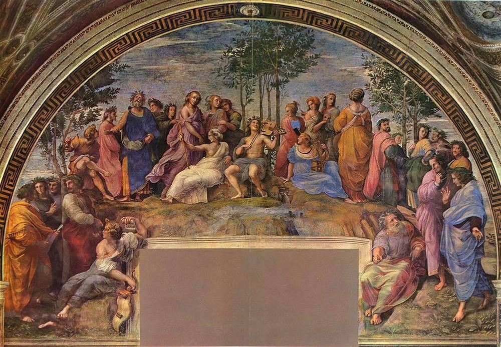 Ο Παρνασσός -μια από τις νωπογραφίες του στα τέσσερα δωμάτια στο Αποστολικό Παλάτι του Βατικανού - Ραφαήλ