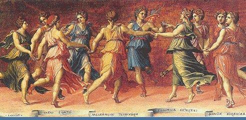 Μούσες χορεύουν με τον Απόλλωνα , τοιχογραφία