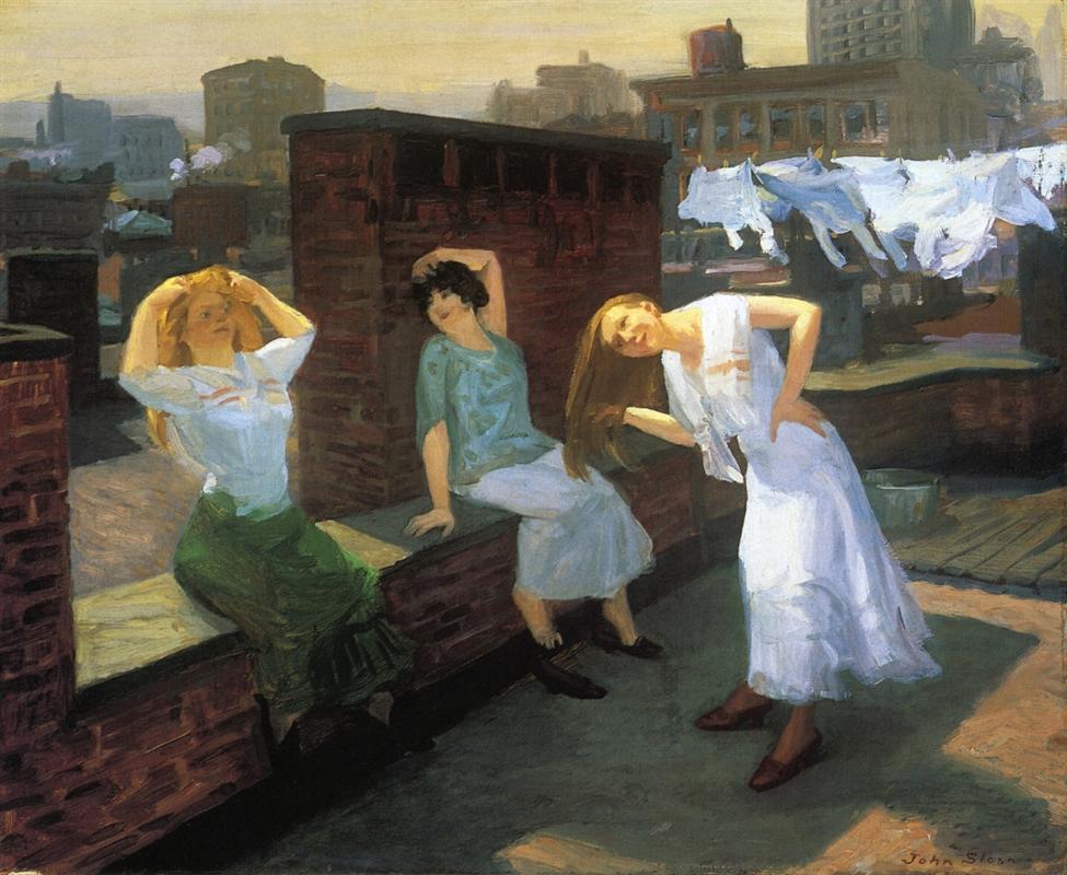 Κυριακή, γυναίκες στεγνώνουν τα μαλλιά τους - John French Sloan 1912