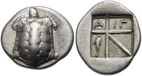 Δραχμή της Αίγινας, περ. 404 π.Χ.