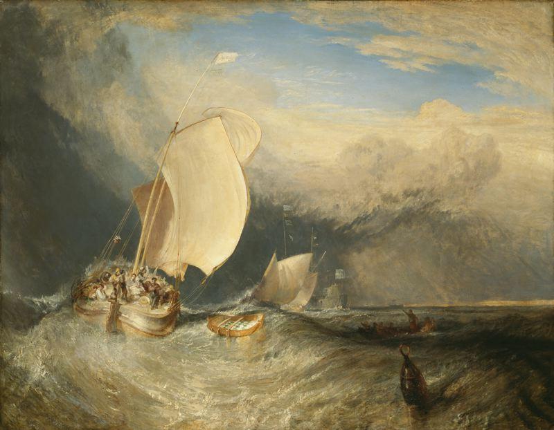 Ψαρόβαρκες διαπραγματεύονται με τους εμπόρους για τα ψάρια 1838