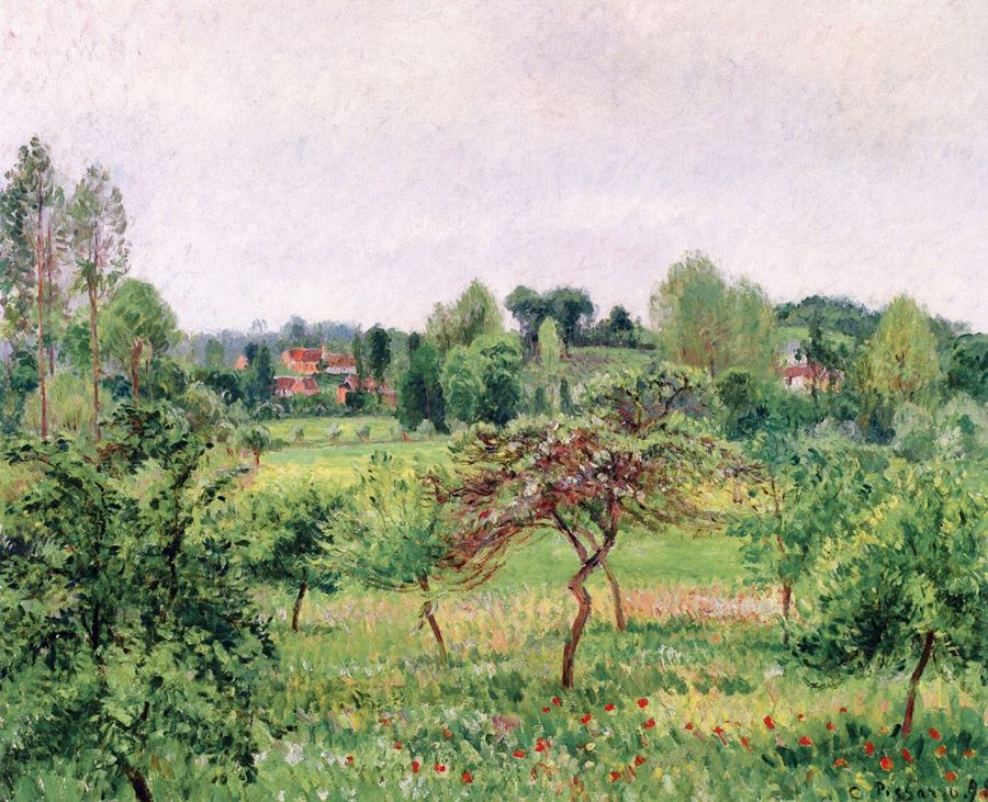 βροχερός καιρός τον Ιούνη στο Eragny -Καμίλ Πισαρό - 1898