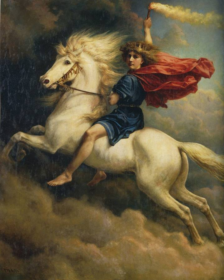 Dagr , ο νορβηγός θεός της ημέρας με το άλογό του σε έναν πίνακα ζωγραφικής του 19ου αιώνα από τον Peter Nicolai Arbo