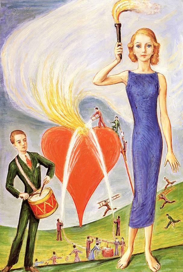 Το Κορίτσι με ένα πυρσό και μια φλεγόμενη καρδιά - Nils Dardel - 1931
