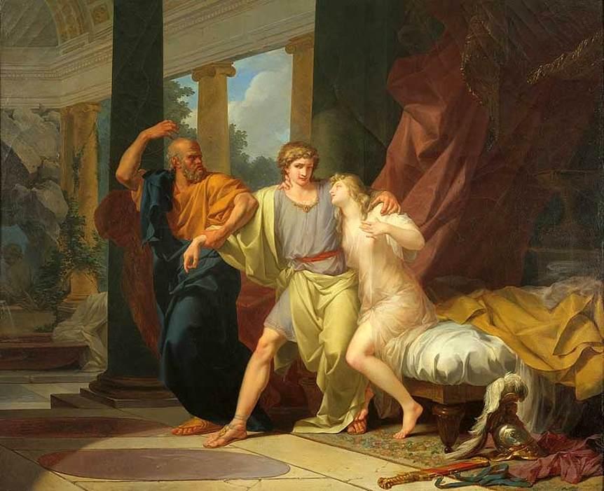 Σωκράτης Μεταφορά Αλκιβιάδη από την Αγκαλιά της Ασπασίας Jean-Baptiste Regnault - 1785