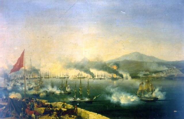 Η Ναυμαχία του Ναβαρίνου - Ελαιογραφία του Γκαρνερέ. -(1827)