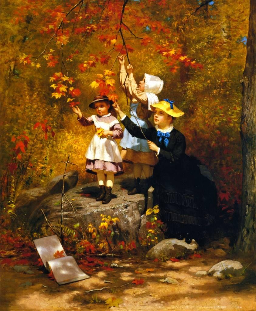Μαζεύοντας φθινοπωρινά φύλλα -John George Brown - 1875