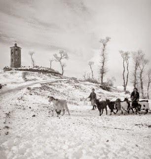Δ. Χαρισιάδης, Γυναίκα με παιδί και κατσίκες σε χιονισμένο τοπίο. Β. Ήπειρος. 1940.