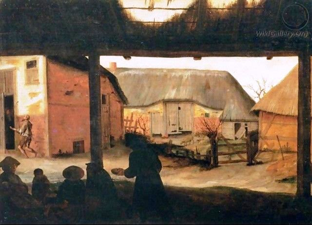 """Farmyard with a Beggar"" by Cornelis Van Dalem"