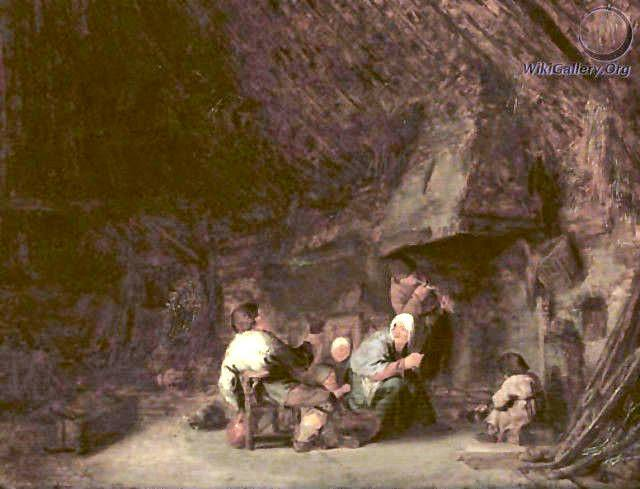A peasant family by a fireplace in a barn, by Adriaen Jansz. Van Ostade