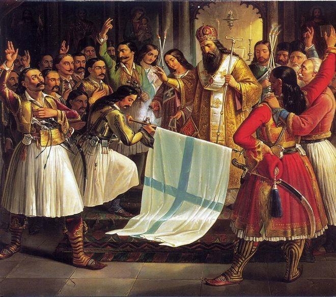 Ο Παλαιών Πατρών Γερμανός με Έλληνες αγωνιστές αρνούνται να παραδοθούν στους Οθωμανούς σε μία εικόνα όπου «παντρεύονται» οι αξίες της πίστης και της πατριδοφιλίας.